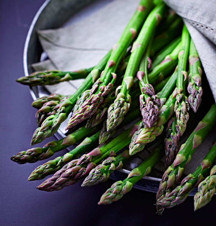 Fresh asparagus in a table napkin